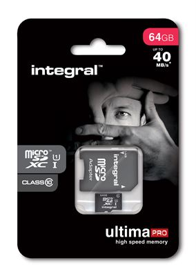 Integral UltimaPro microSDXC C10 64GB 40MBs packaging