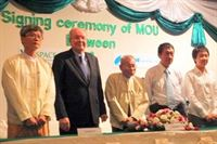 Participants in the signing ceremony in Myanmar