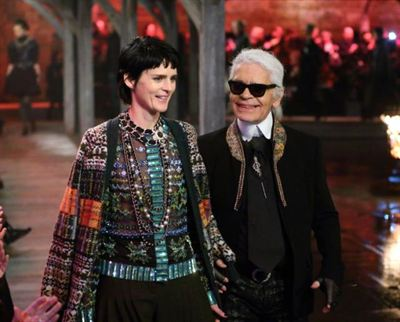 Model Stella Tennant and Karl Lagerfeld walk the runway at Chanel&#39;s Mtiers d&#39;Art show at Linlithgow Palace