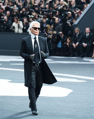 Karl Lagerfeld walks the runway during the Chanel Fall/Winter 2013 Ready-to-Wear show as part of Paris Fashion Week at Grand Palais on March 5, 2013 in Paris, France