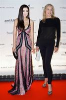 Rebecca Wang and Sharon Stone at amFAR Paris Inspiration Gala 2012