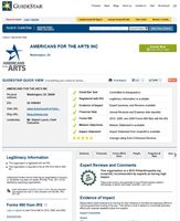 GuideStar Impact Tab Example - Americans for the Arts