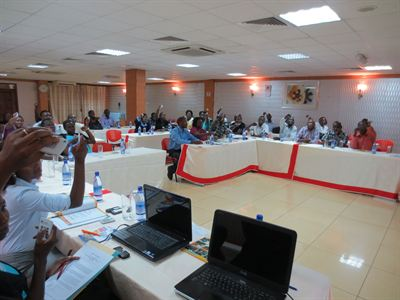 Heath Foundation staff train Ugandan health care workers using TurningPoint hand held voting sytems 1