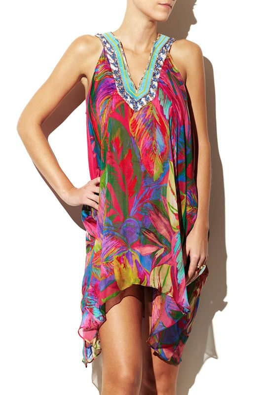 Silk Dress Tropical Feeling Beachfashionshop Com