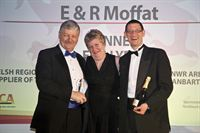 Toni Edwards, Regional Chair of LACA Wales Region, with Mike McDonald, left, and Gary Allen, right, of E R Moffat