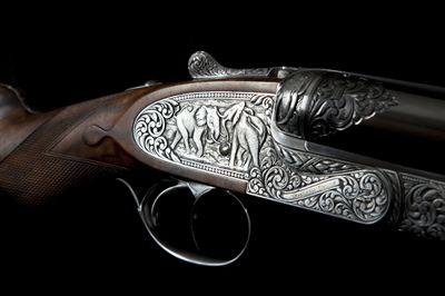 Engraving on William Evans 500 Nitro Express rifle