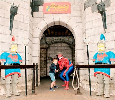 Finlay Taylor with Spiderman at LEGOLAND