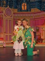 Nikkita Mills with Jennifer Ellison who played Peter Pan in the Churchill Theatre production of the pantomime