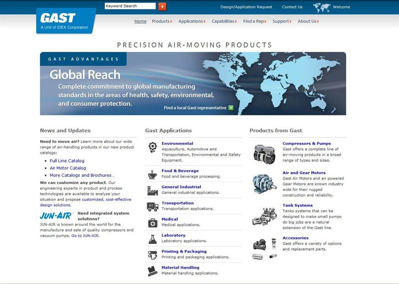 Gast group launches new look websites for its gast and jun for Gast air motor distributors