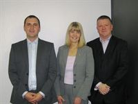 Gast Group's Michael Roff (left) with Christine Peaden and David Parfitt of BCAS Limited