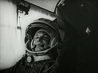 Yuri Gagarin on his way to the launch pad - courtesy Footagevault