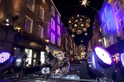 DJ Goldierocks launches the Carnaby Christmas Decorations co-designed by The Rolling Stones