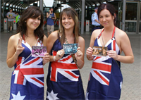 Australian Scientologists distribute drug education and prevention booklets at a sports event.
