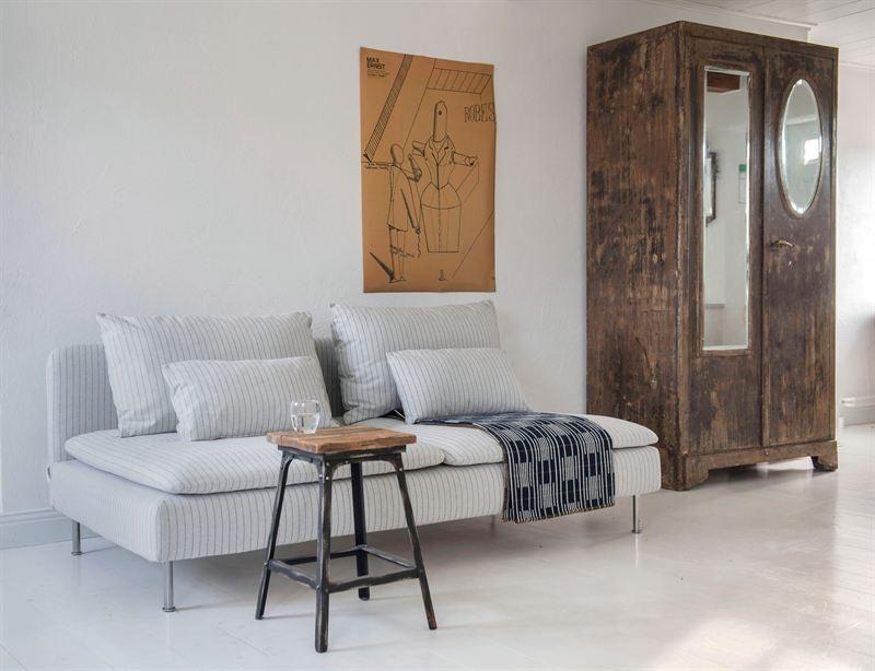 S 246 Derhamn Sofa Cover In Vreten Pinstripe Silver Grey Bemz