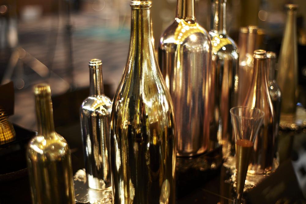 Designlush gold bottlescape jan maclatchie brand strategist for Gold wine bottle centerpieces