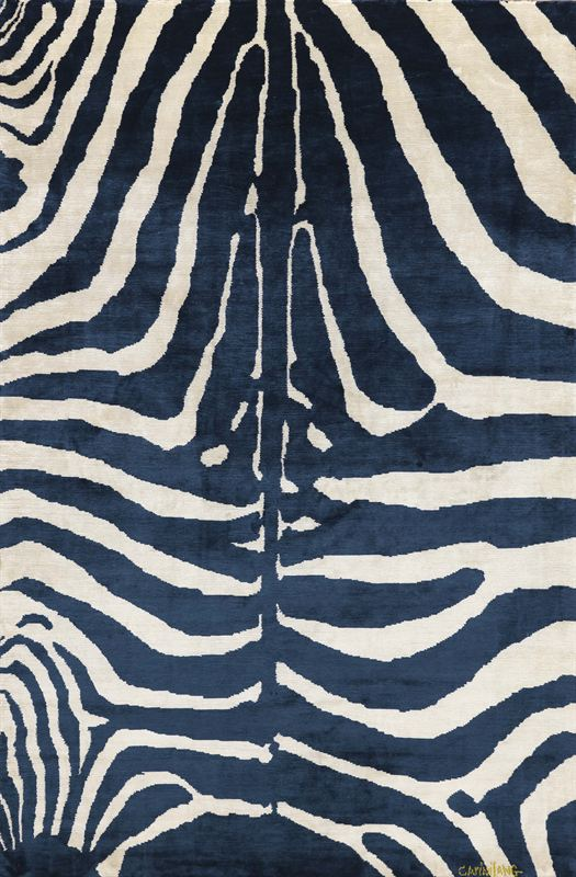 Zebra Indigo Silk Carpet By Carini Lang Jan Maclatchie