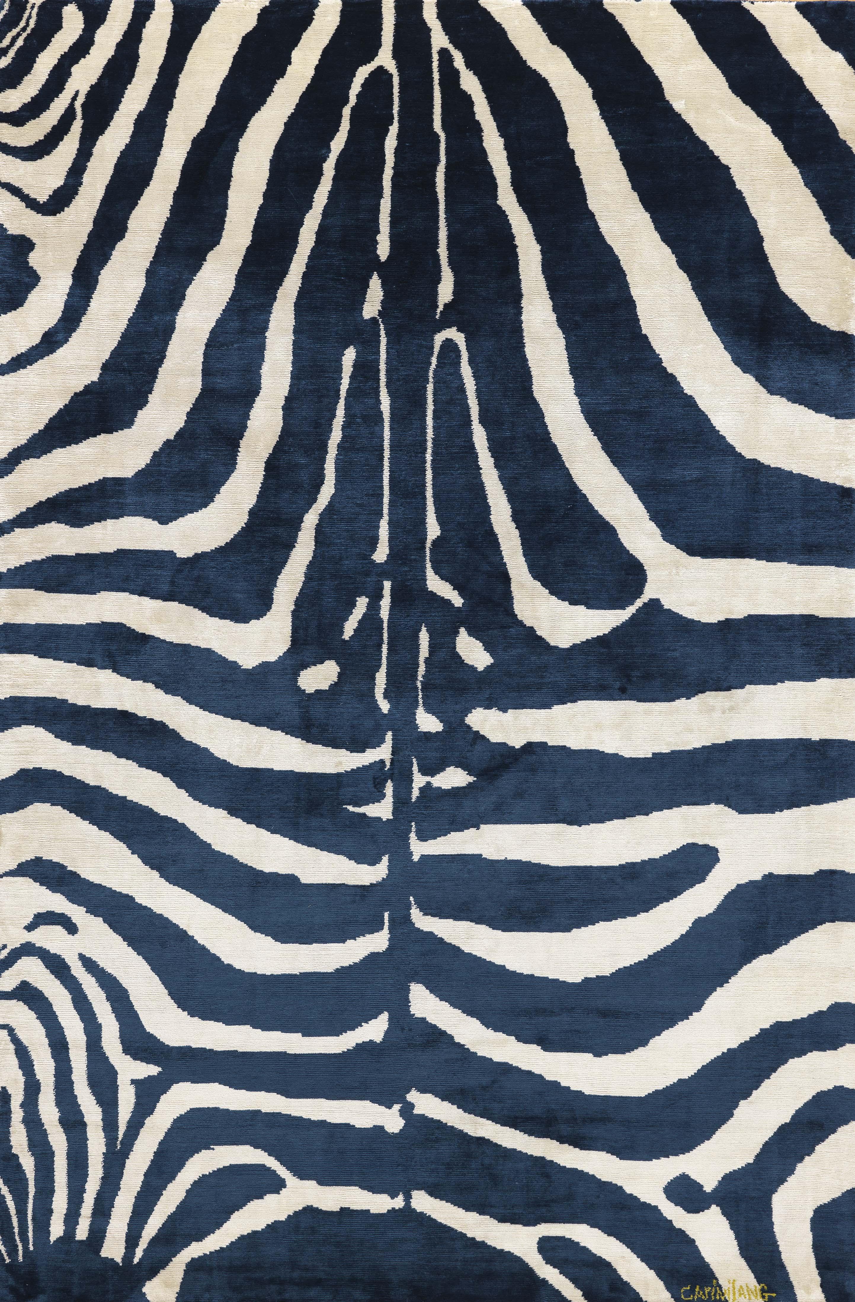 Zebra indigo silk carpet by carini lang jan maclatchie - Alfombras animal print ...