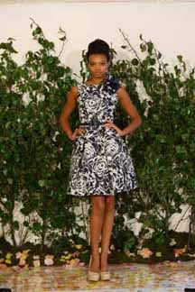 Navy and white jaquard party dress 