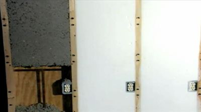 Wall insulation should be long lasting and not settle (see foam insulation on right). Cellulose insulation (left) can settle, leaving gaps in the wall cavity