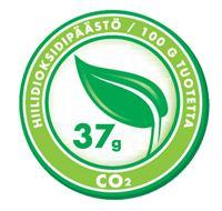 Tuotteen hiilijalanjälki per 100 g tuotetta