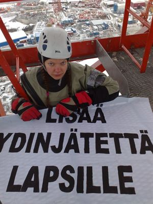 Greenpeace activist at Olkiluoto 3 construction site