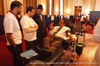 Rep. Keith Ellison (D-MN) donates blood at the 9/11 Memorial Blood Drive at Capitol Hill