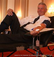Rep. Tom Petri (R-WI) donates blood at the 9/11 Memorial Blood Drive at Capitol Hill