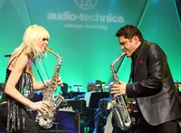 Mindi Abair and Dave Koz performing at Audio-Technica's 50th Anniversary Celebration during Winter NAMM Show in Anaheim, CA at Disney California Adventure Park on Thursday, January 19, 2012. Photo by John Staley.