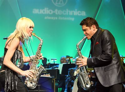 Mindi Abair and Dave Koz performing at Audio-Technicas 50th Anniversary Celebration during Winter NAMM Show in Anaheim, CA at Disney California Adventure Park on Thursday, January 19, 2012. Photo by John Staley.