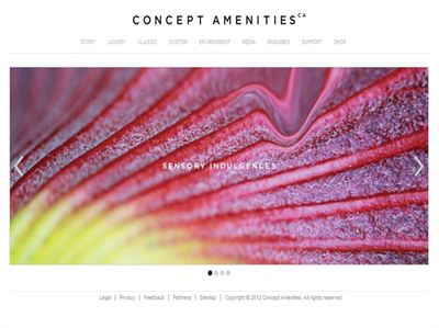 Concept Amenities bold new Home page