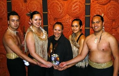 Dr. Mary Shuttleworth in New Zealand on the 3rd annual Youth for Human Rights World Tour in 2006