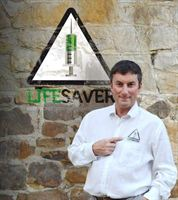 Koska promotes his new initiative, Lifesaver, which encourages all auto-disable syringe manufacturers to include a LifeSaver symbol on their products to guarantee patients safe injections.
