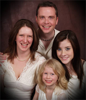 Scientologist Colleen May, husband Shawn, and daughters Jessica and Jaymie (clockwise)