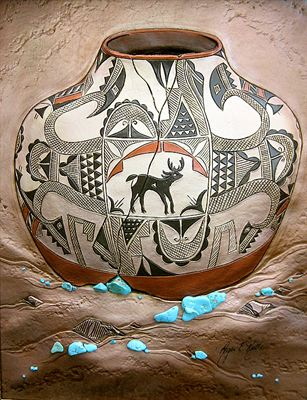 Acoma Deer - pictorial leather sculpture by Roger Kull