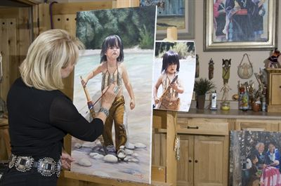 Sharon Brening in her artist studio.