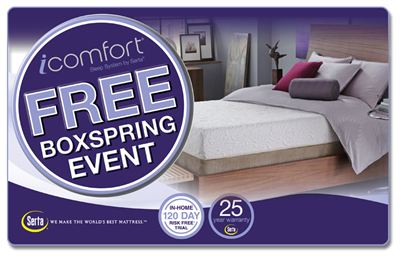 The iComfort Sleep System by Serta Free Box Spring Event
