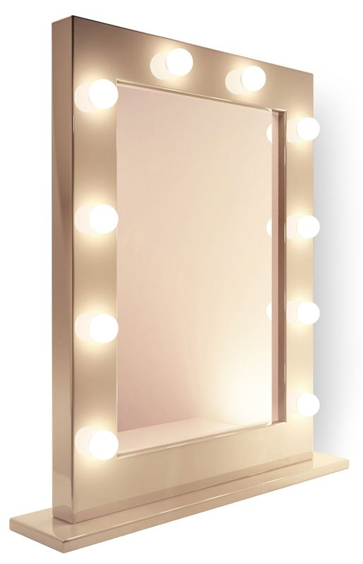 Table Top Hollywood Mirror In High Gloss Black £289.99   Www.illuminated  Mirrors.uk.com