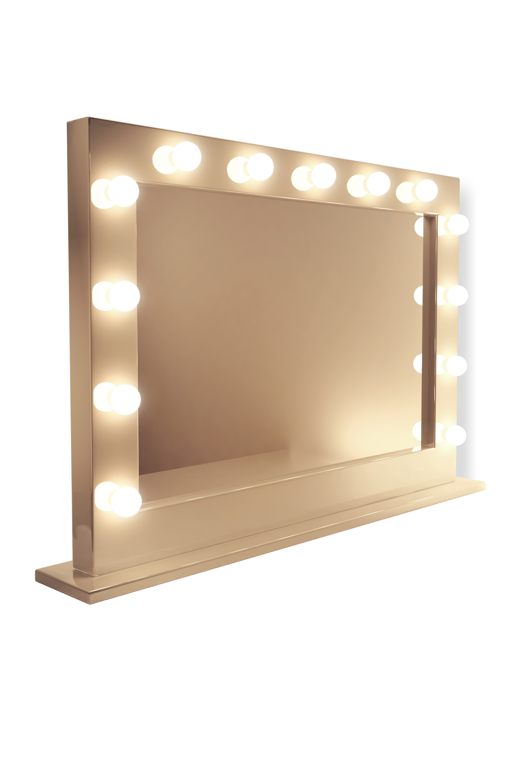 Illuminated Mirrors Table Top Mirror In High Gloss White Jwc