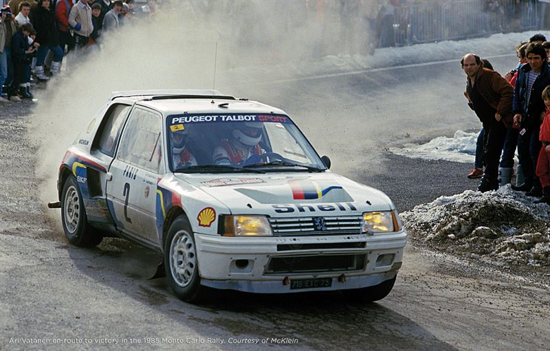 Ari Vatanen en route to victory in the 1985 Monte Carlo Rally