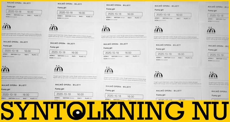 Collage av teaterbiljetter frn Malm Opera
