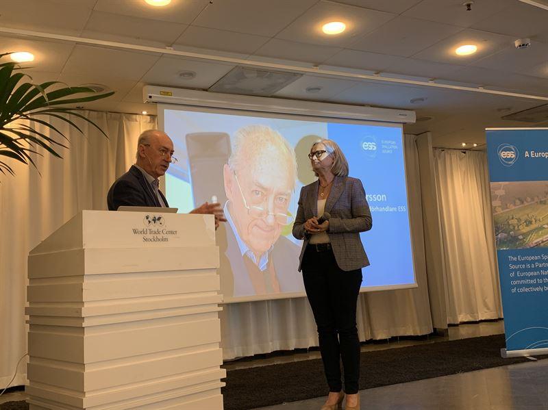 Allan Larsson tidigare chefsfrhandlare ESS och Pia Kinhult ESS Head of Host State Relations