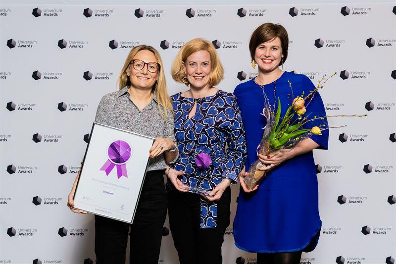 Glada pristagare: Anna Bergqvist, HR-chef,Anna Kritz, HR-specialist  och Johanna Smith, HR-specialist
