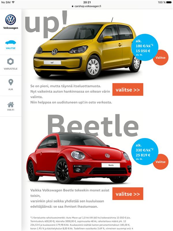 Volkswagen uusien autojen verkkokauppa