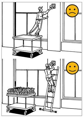 Säkra dina hjälpmedel när du jobbar på hög höjd. Rullbord är ingen bra idé