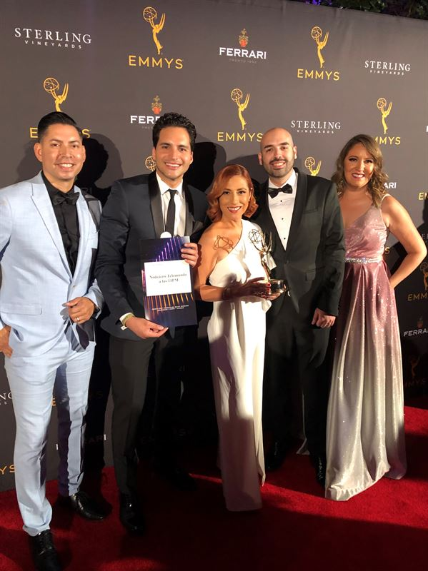 Noticiero Telemundo 52 a las 11PM wins Emmy for Regularly Scheduled Daily Evening Newscast From left to right Alejandro Navarro Sports Anchor Enrique Chiabra News Anchor Ana Patricia Candiani News Anchor William Negron Producer and Deya Ceballos Technical Director