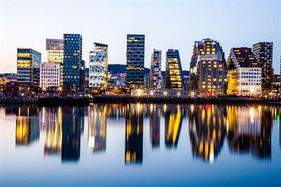 Kontorsbyggnader i Oslo, Norge.