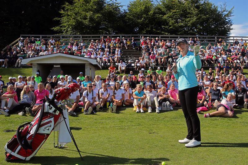 Annika Srenstam vid sin clinic i samband med ANNIKA Invitational 2018 p Kungliga Drottningholms Golfklubb
