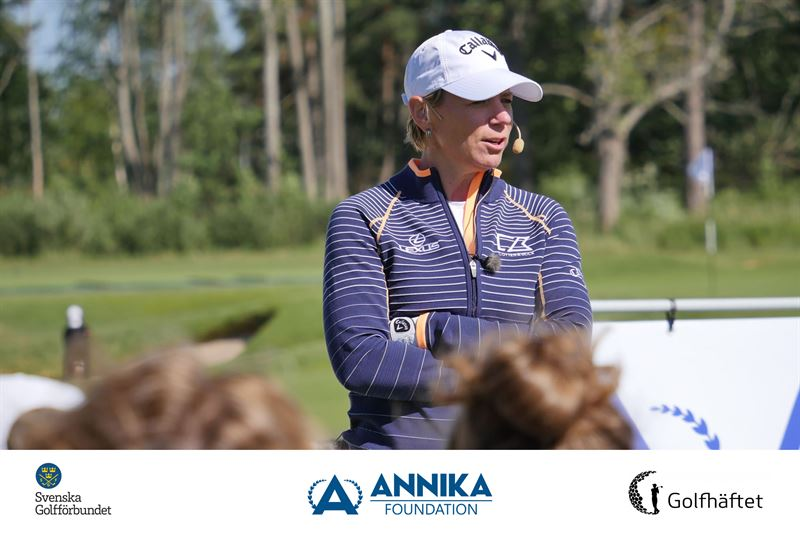 ANNIKA Srenstam under en clinic p ANNIKA Invitational Europe p Kungl Drottningholms GK 2018 2021 inleder tvlingen ett trerigt samarbete med Golfhftet