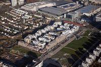 Luftaufnahme des neuen Wohnquartiers im Parkend Frankfurt © Züblin
