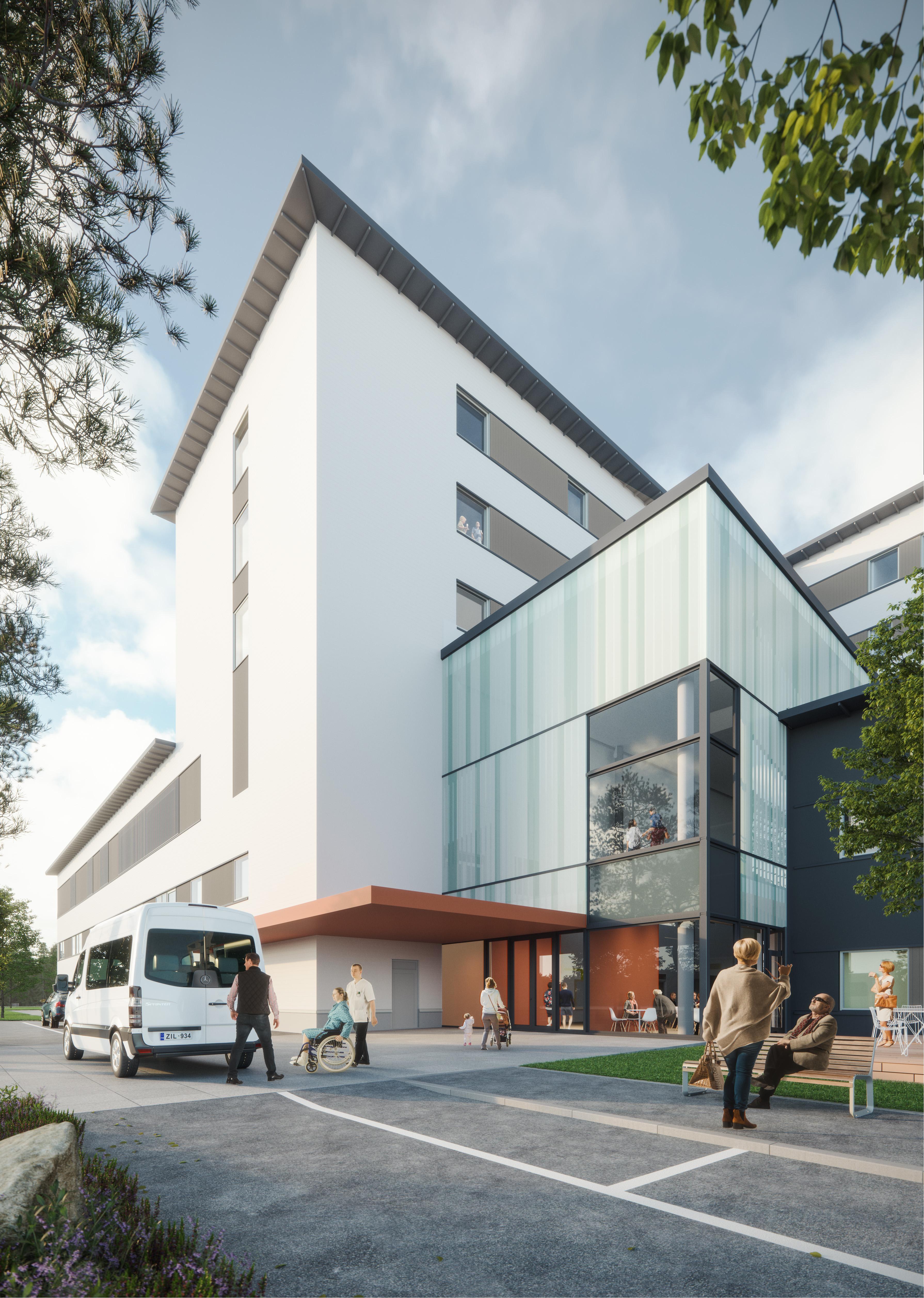 Kainuun uusi sairaala, pääsisäänkäynti